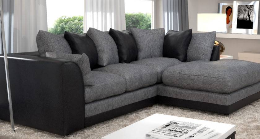 Grey Black Corner Sofa Living Room Home