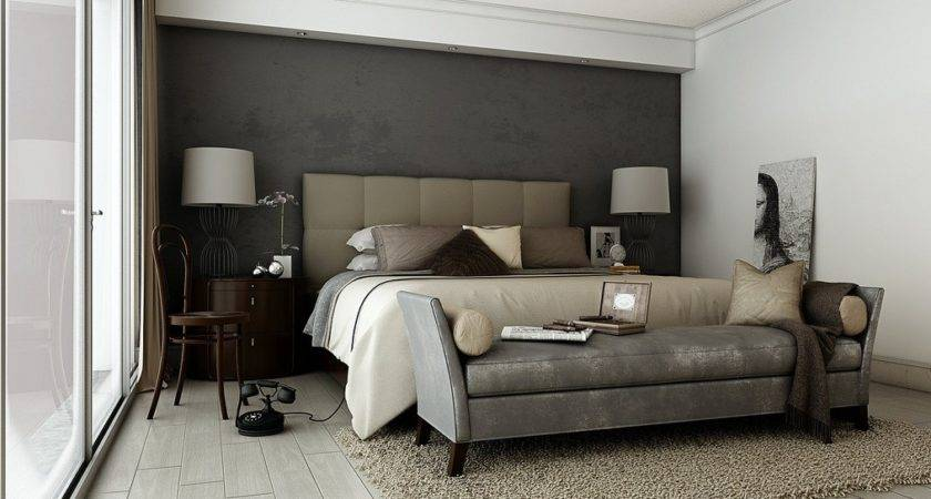 Grey Brown Taupe Sophisticated Bedroom Interior Design
