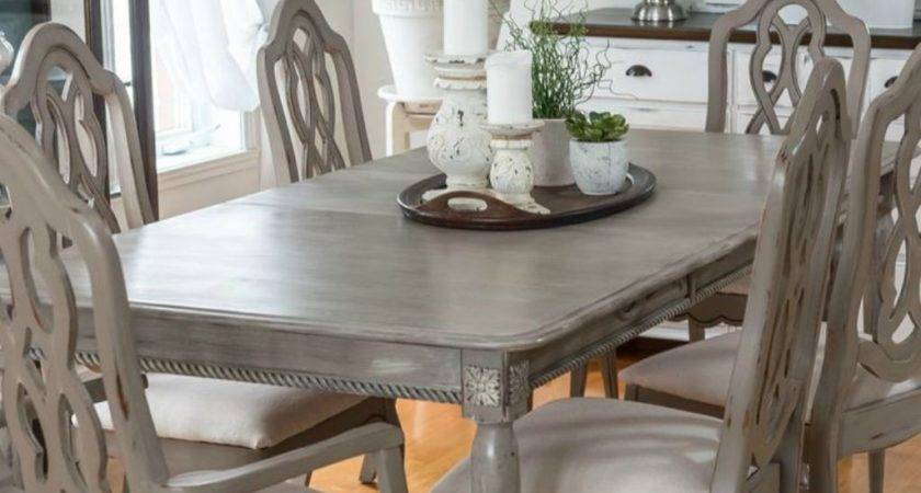 Grey Chalk Painted Chairs Table Classic Kitchen