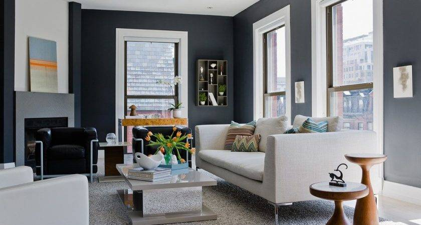 Grey Leather Sectional Living Room Transitional