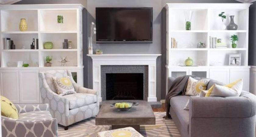 Grey Living Room Pops Soft Color Yellow Green