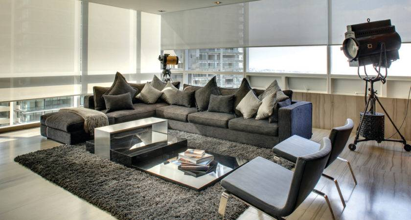 Grey Sectional Living Room Contemporary Dark Gray
