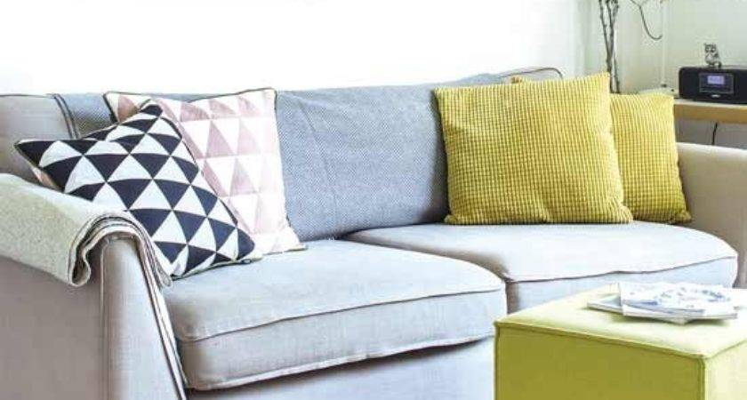 Grey Sofa Bright Cushions Housetohome