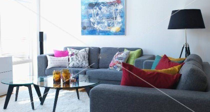 Grey Sofa Set Colourful Scatter Cushions Around