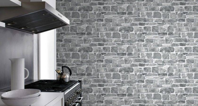 Grey Stone Wall Rasch New Feature