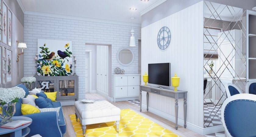Grey Yellow Blue Living Room Feier Fresh