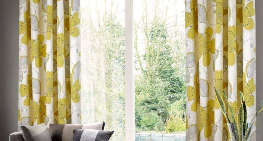 Grommet Top Yellow Gray Floral Curtain Living Room