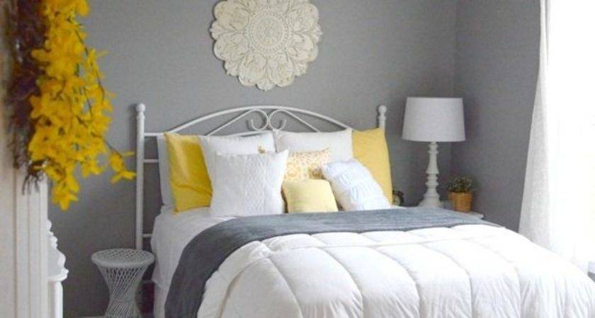 Guest Bedroom Gray White Yellow