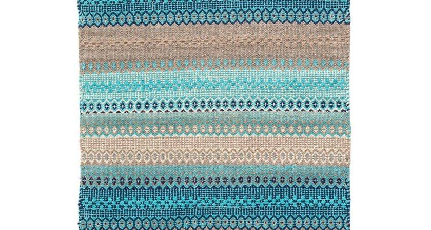 Gypsy Stripe Turquoise Grey Woven Cotton Rug Design