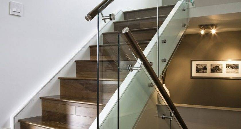 Hand Made Maple Stair Glass Railing Stainless