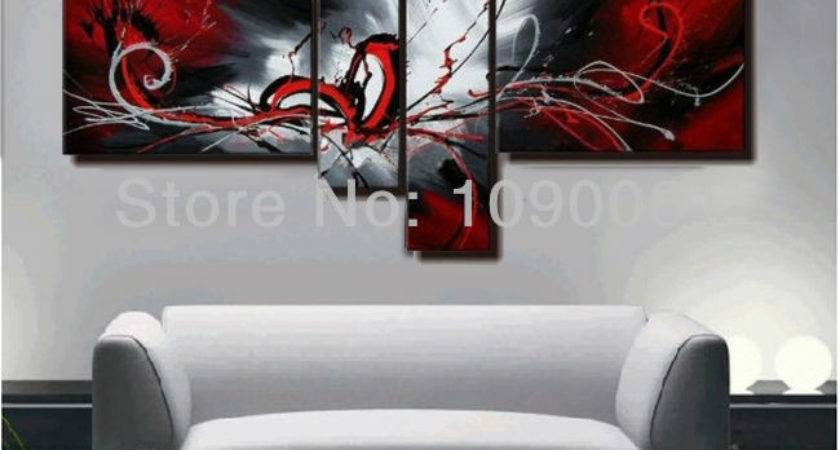 Hand Painted Abstract Canvas Painting Oil Black White