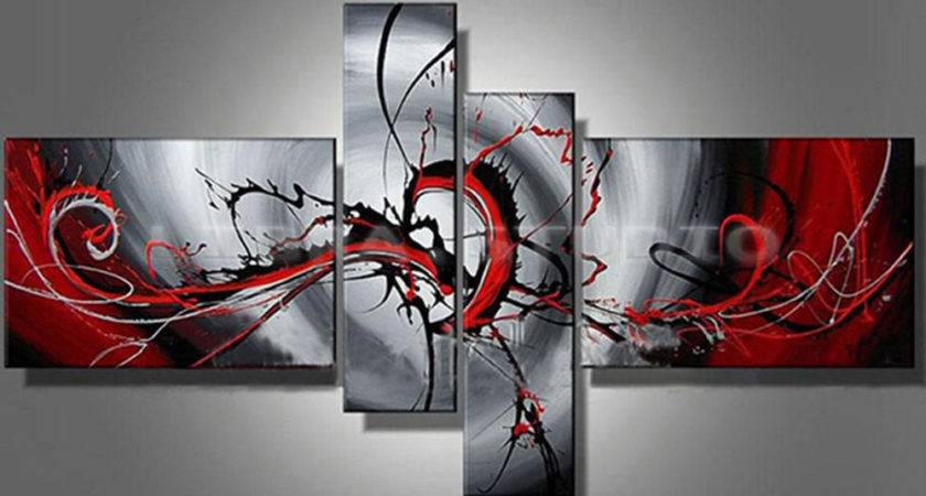 Hand Painted Oil Painting Modern Abstract Black Red