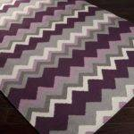 Handwoven Wine Chevron Prune Purple Wool Rug