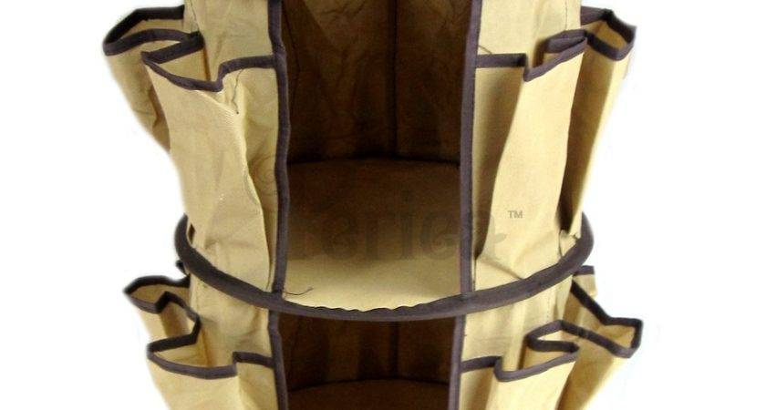 Hanging Round Shoe Rack Storage Brown Fabric Cover