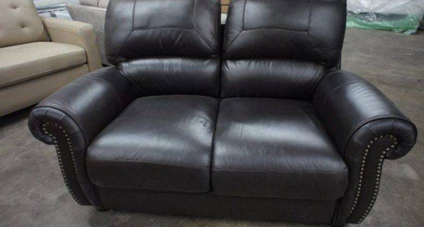 High End Tuscany Collection Leather Love Seat Name Brand