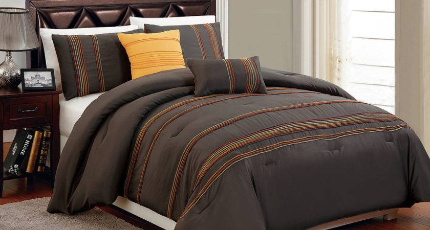 High Quality Microfiber Brown Orange Queen Comforter