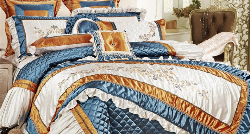 High Quality Silk Luxury Palace Bedding Set Stereo Cotton