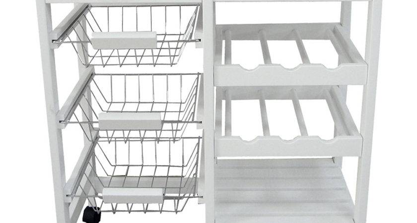 Home Basics White Deluxe Kitchen Trolley Zulily