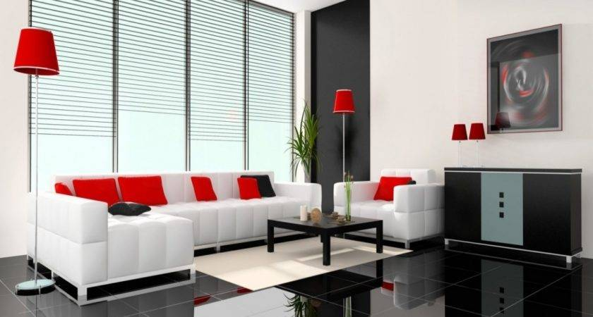 Home Design Gold Contemporary Red Black White Living