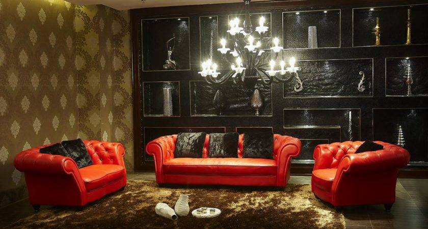 Home Design Remarkable Red Black Living Room Decors
