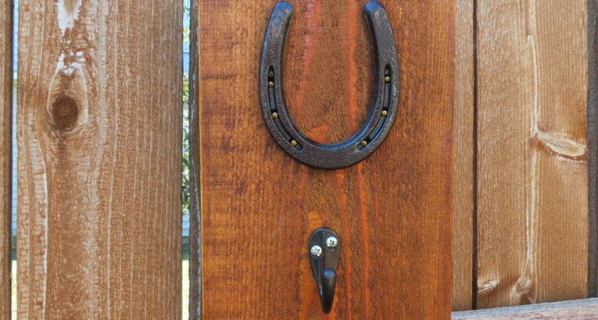 Horseshoe Wall Hanging Hook Attached Barnwood Would