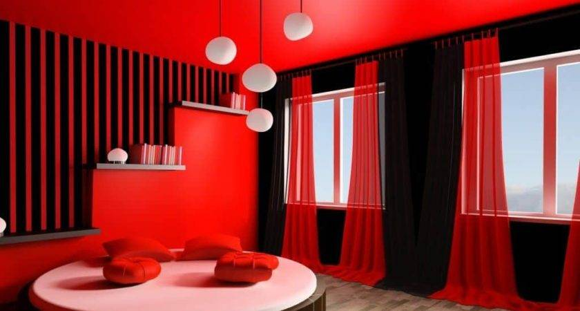 Hot Bedroom Theme Striped Walls Red Black Curtain