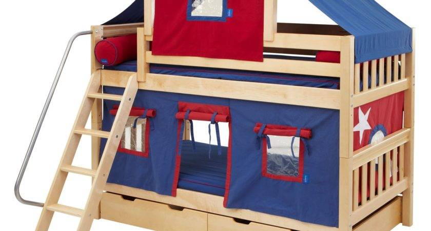 Hot Twin Over Deluxe Tent Bunk Bed Kids Trundle
