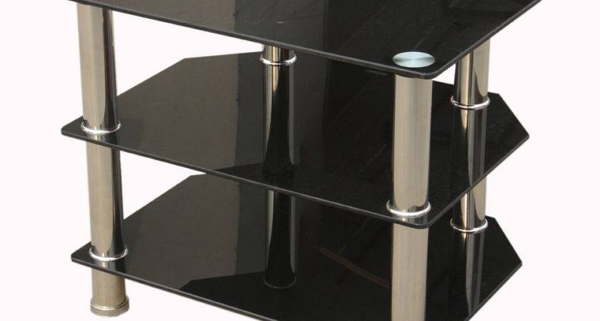 Hudson Three Shelf Black Glass Corner Entertainment