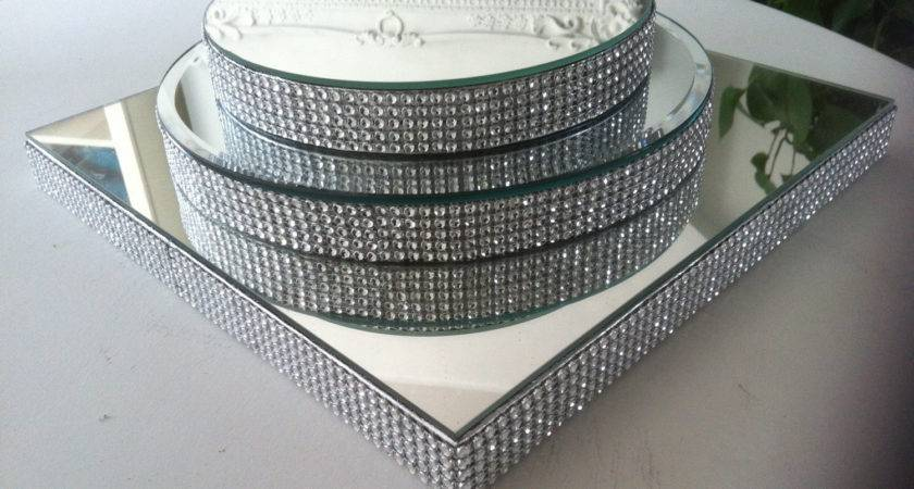 Huge Diamant Mirror Round Centrepiece Cake Display Stand