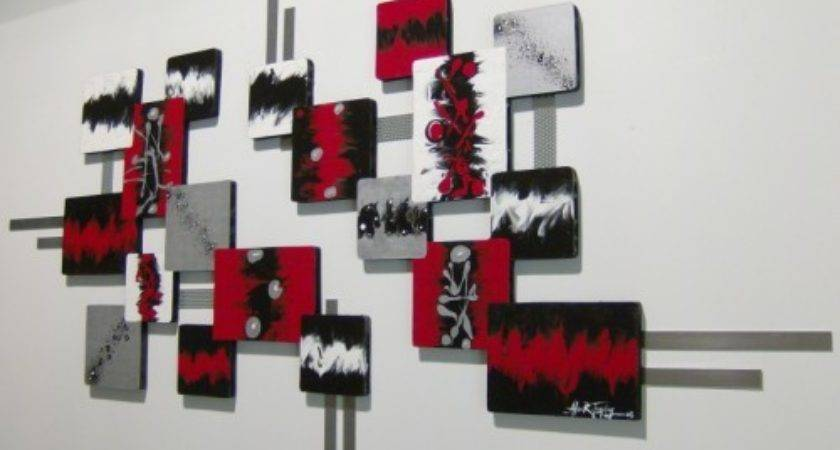 Huge Rich Red Black Silver Modern Abstract Square
