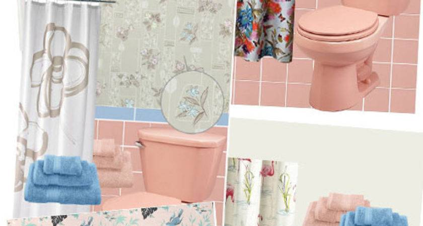Ideas Decorate Pink Blue Tile Bathroom Retro