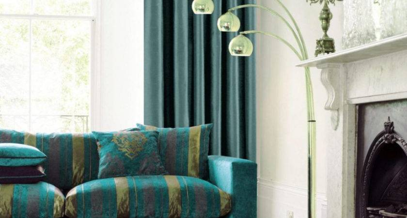 Ideas Wondrous Teal Brown Living Room Curtains Retro