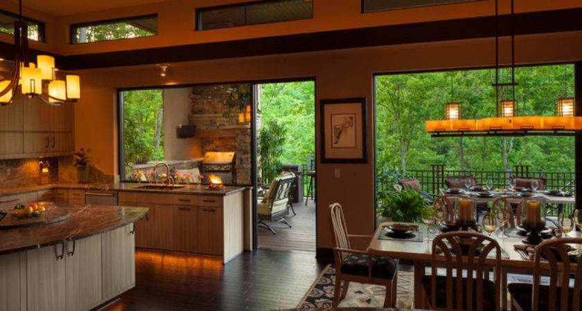 Indoor Outdoor Dining Contemporary Kitchen Charlotte
