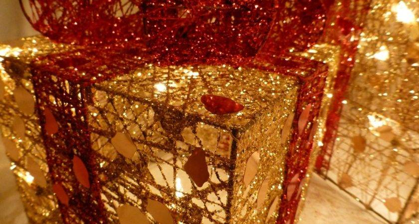 Indoor Set Small Gold Red Parcel Light Christmas