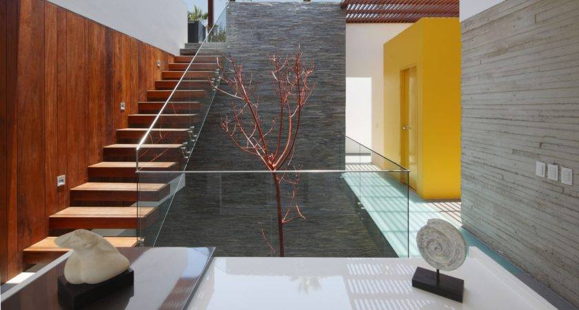 Interior Concrete Staircase Wooden Steps Glass