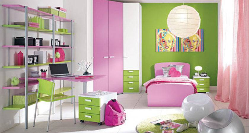 Interior Design Pink Green Kids Room