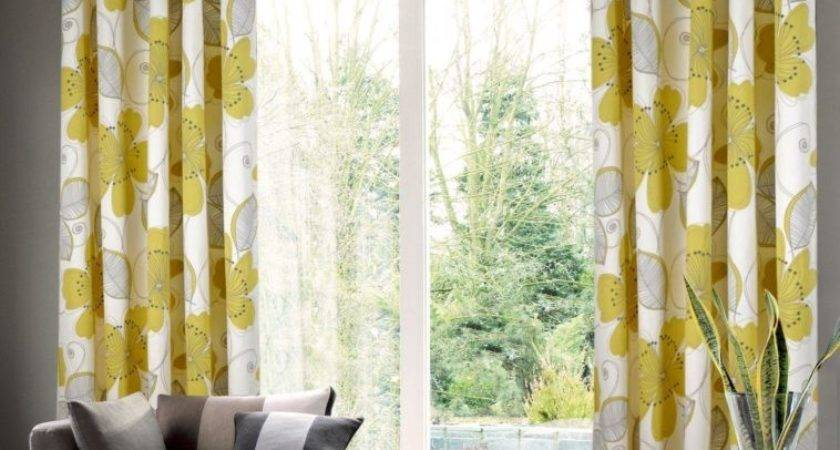 Interior Grey Yellow Living Room Curtain Floral