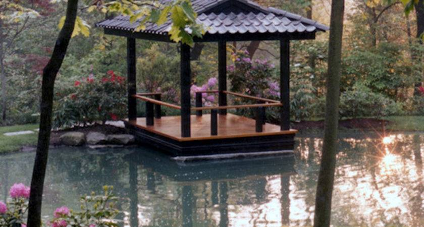 Intimate Waterfront Deck Inspired Japanese Pagoda