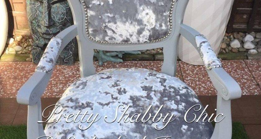 Italian Rococo French Louis Silver Grey Crushed Velvet