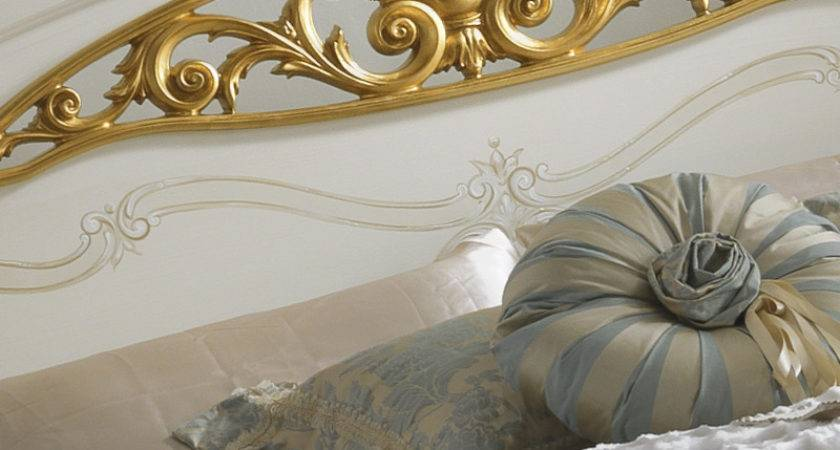 Italian White Gold Leaf Elaborately Carved Bed