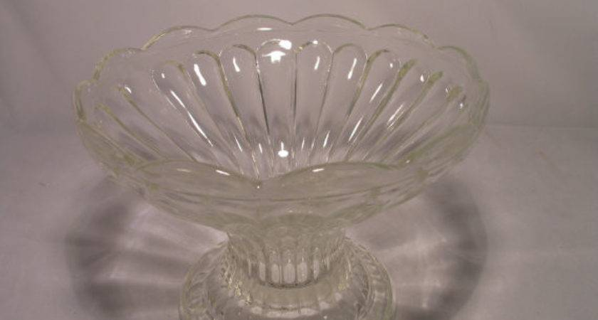Items Similar Vintage Clear Glass Pedestal Fruit Bowl