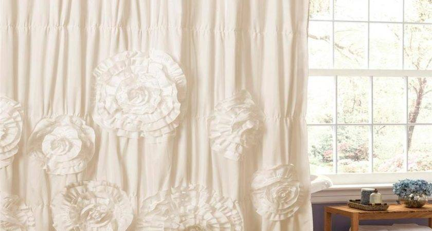 Ivory Modern Country Chic Textured Ruffled Floral Fabric