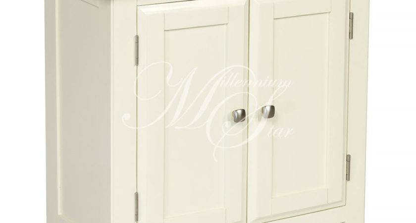 Ivory Painted Oak Small Two Door Cupboard Cabinet Storage