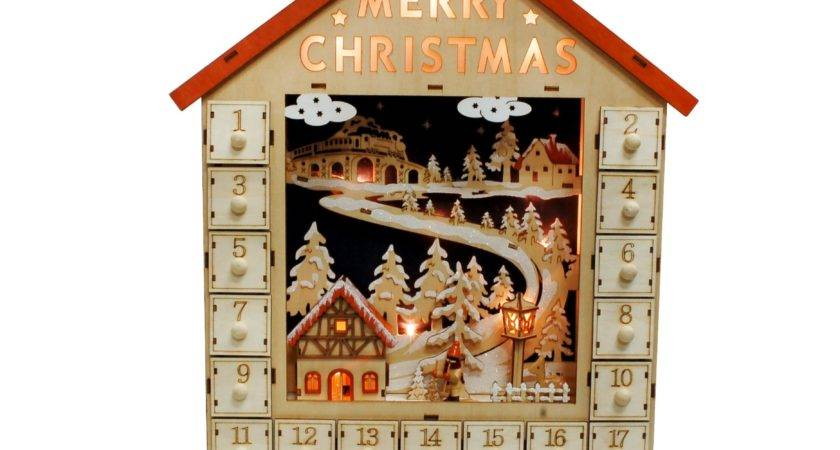 Jeco Inc Wooden Advent Calendar Lights Wayfair