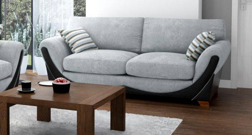 Joker Seater Grey Black Sofa Fabric Sofas