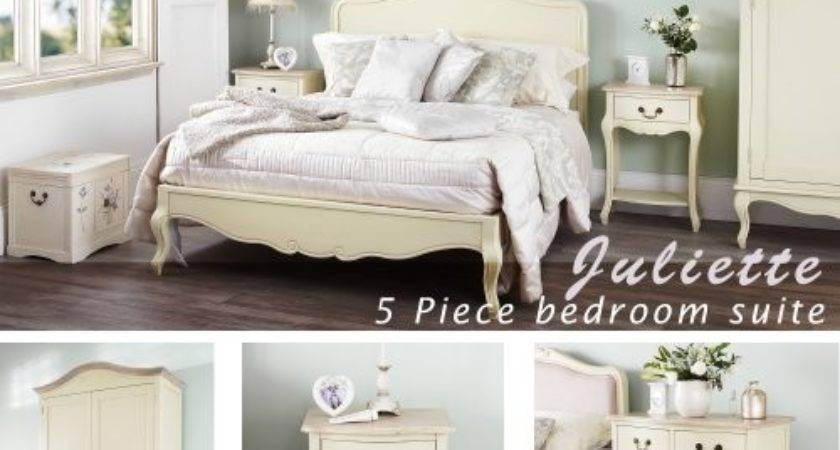 Juliette Shabby Chic Champagne Double Bed Bedroom