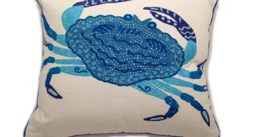 Karma Living Blue Crab Pillow Texas Salt Grass