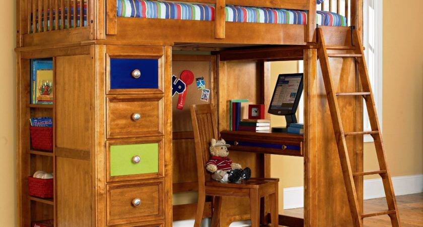 Kids Bedroom White Wooden Loft Bunk Bed Study Desk