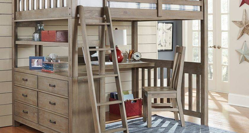 Kids Highlands Loft Bed Desk Driftwood