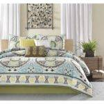 King Bedding Set Cotton Poly Comforter Blue Yellow